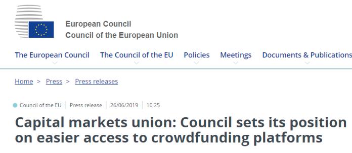 Posición Cosejo UE ante crowdfunding